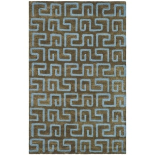 Safavieh Handmade Puzzles Brown/ Blue New Zealand Wool Rug (9'6 x 13'6)