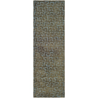 Safavieh Handmade Puzzles Brown/ Blue New Zealand Wool Rug (2'6 x 12')