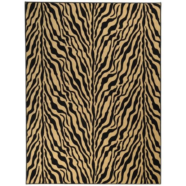 Ottomanson Printed Ottohome Zebra Black and Tan Runner Rug (5' x 6'6)