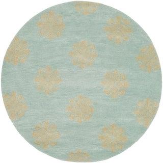 Safavieh Handmade Medallion Turquoise New Zealand Wool Rug (8' Round)