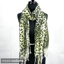 Fashion Scarf with Cheetah Print and Fringe Details