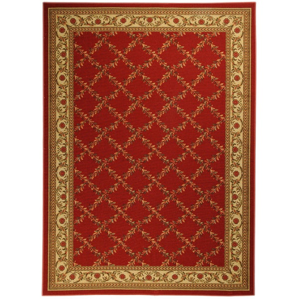 Ottomanson Printed Ottohome Trellis Burgundy Runner Rug (3'3 x 4'6)