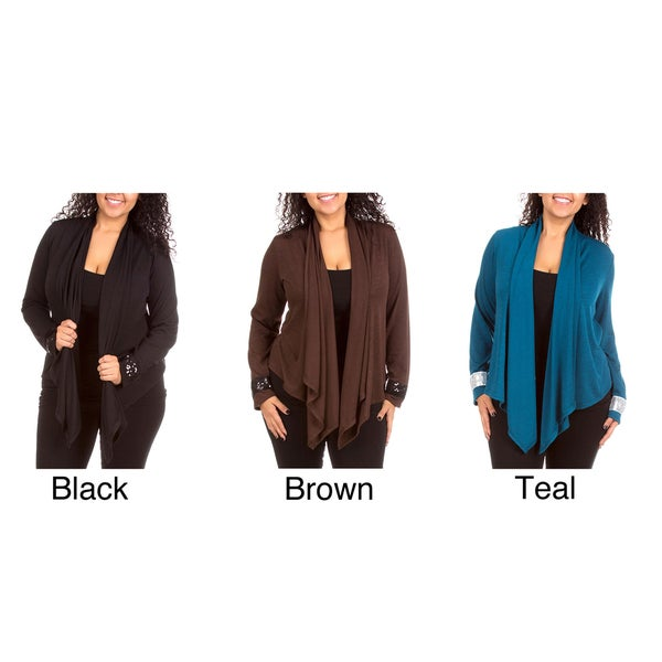 Stanzino Women's Plus Size Open Front Cardigan