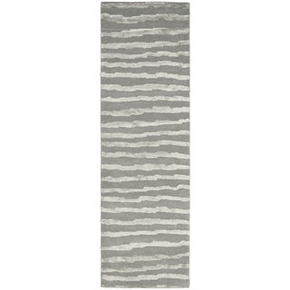 Safavieh Handmade Soho Stripes Grey New Zealand Wool Rug (2'6 x 6')