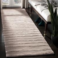 "Safavieh Handmade Soho Stripes Grey New Zealand Wool Rug - 2'6"" x 6'"