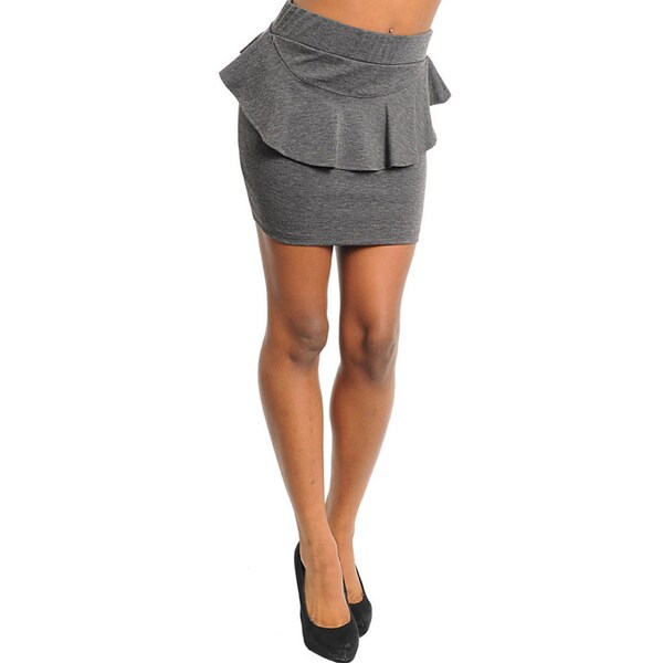 Stanzino Women's Grey Peplum Mini Skirt
