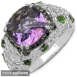 Malaika Sterling Silver Citrine or Amethyst Gemstone and Diamond Ring (I2-I3)