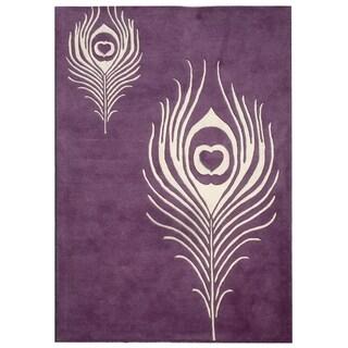Safavieh Handmade Peacock Feather Purple New Zealand Wool Rug