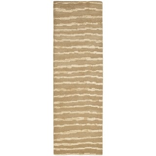 Safavieh Handmade Soho Stripes Beige/ Gold New Zealand Wool Rug (2'6 x 14')