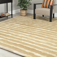Safavieh Handmade Soho Stripes Beige/ Gold New Zealand Wool Rug - 9' x 12'