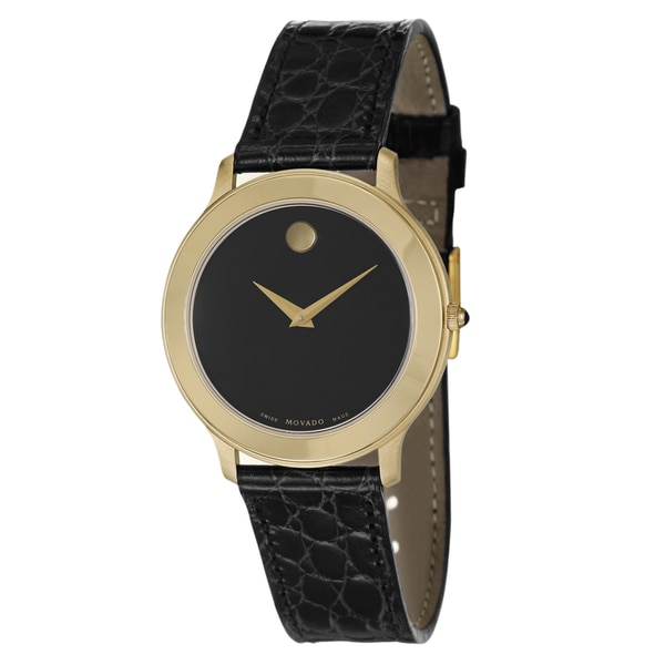 Movado Men's 'Museum' Yellow Goldplated Swiss Quartz Watch