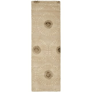 Safavieh Handmade Soho Zen Beige/ Brown New Zealand Wool Rug (2'6 x 12')
