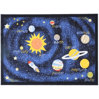 Ottomanson Printed Kids Solar System Black and Blue Area Rug (4'5 x 6'1)