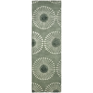 Safavieh Handmade Soho Zen Grey/ Ivory New Zealand Wool Rug (2'6 x 6')