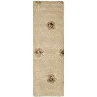 Safavieh Handmade Soho Zen Beige/ Brown New Zealand Wool Rug (2'6 x 6')