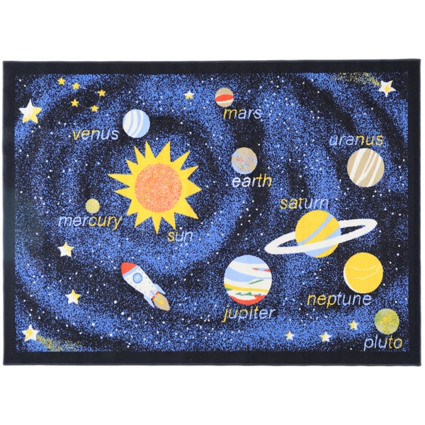 Ottomanson Printed Kids Solar System Black and Blue Area Rug (3'3 x 4'7)