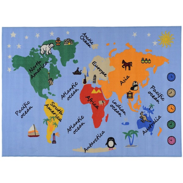 Ottomanson Printed Kids Our World Blue Area Rug (3'3 x 4'7)