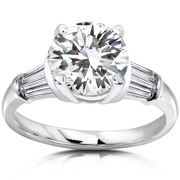 Annello by Kobelli 14k White Gold 2 2/5ct TGW Round Moissanite and Baguette Diamond Ladies Engagement Ring