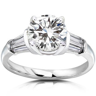 Annello by Kobelli 14k White Gold 2ct TGW Round Moissanite and Baguette Diamond Ladies Engagement Ring