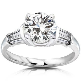 Annello by Kobelli 14k White Gold 2ct TGW Round Moissanite (HI) and Baguette Diamond Ladies Engagement Ring