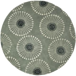 Safavieh Handmade Soho Zen Grey/ Ivory New Zealand Wool Rug (8' Round)