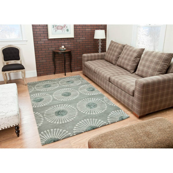Safavieh Handmade Soho Zen Grey/ Ivory New Zealand Wool Rug (8' Square)