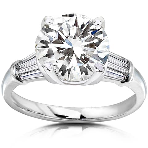 Annello by Kobelli 14k White Gold 3 3/4ct TGW Round-cut Moissanite and Diamond Engagement Ring