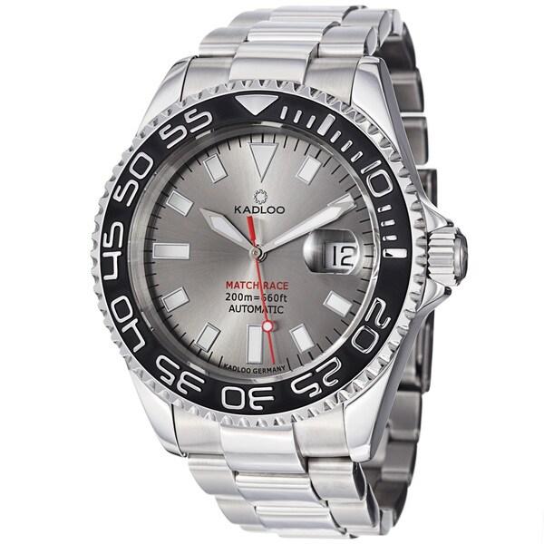 Kadloo Men's 'Match Race' Grey Dial Stainless Steel Watch