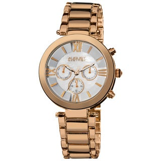 August Steiner Women's Rose Gold Step Dial Multifunction Bracelet Watch