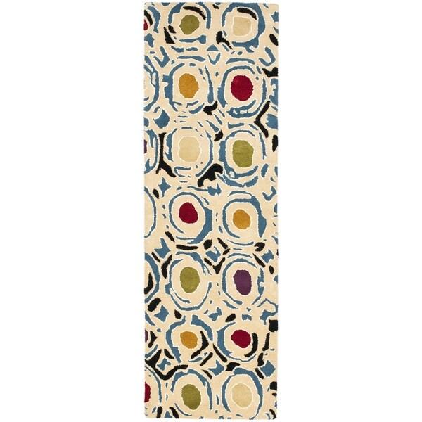 Safavieh Handmade Soho Modern Abstract Ivory/ Multi Wool Runner Rug (2' 6 x 14')