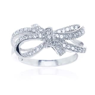 Blue Box Jewels Rhodium Plated Silver Double Bow Knot Ribbon Ring|https://ak1.ostkcdn.com/images/products/7617488/7617488/Sterling-Silver-Cubic-Zirconia-Double-Bow-Knot-Ribbon-Ring-P15038762.jpeg?impolicy=medium