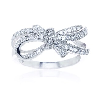 Blue Box Jewels Rhodium Plated Silver Double Bow Knot Ribbon Ring (3 options available)