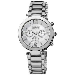 August Steiner Women's Water-Resistant Step Dial Multifunction Silver-Tone Bracelet Watch