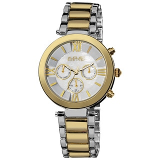 August Steiner Women's Step Dial Multifunction Two-Tone Bracelet Watch