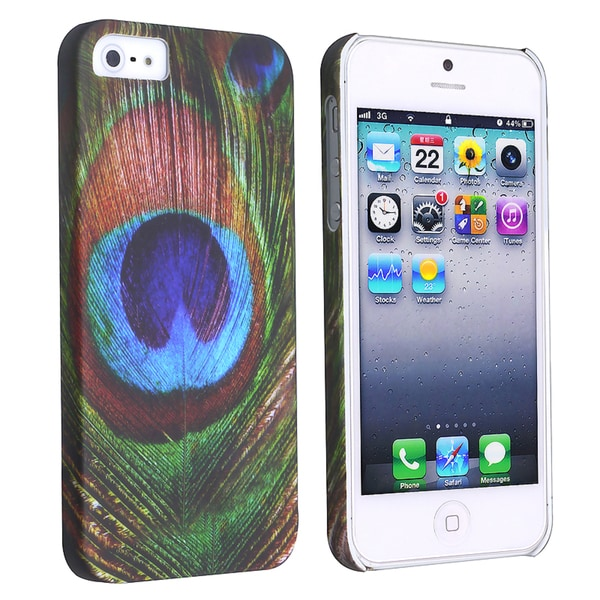 INSTEN Peacock Feathers Rear Snap-on Phone Case Cover for Apple iPhone 5/ 5S
