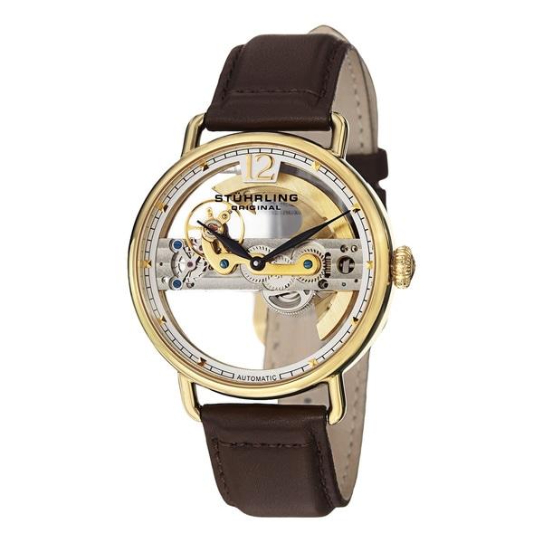 Stuhrling Original Men's Aristocrat Bridge Automatic Skeleton Leather Strap Watch