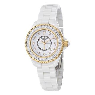 Stuhrling Original Women's Glamour II Quartz Crystal Ceramic Water-Resistant Bracelet Watch|https://ak1.ostkcdn.com/images/products/7617578/P15038805.jpg?impolicy=medium
