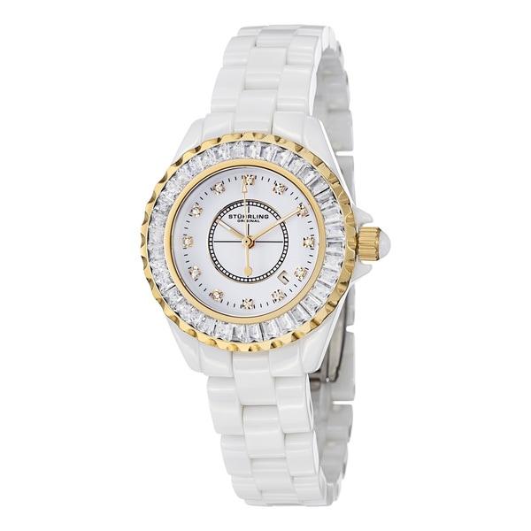 Stuhrling Original Women's Glamour II Quartz Crystal Ceramic Water-Resistant Bracelet Watch