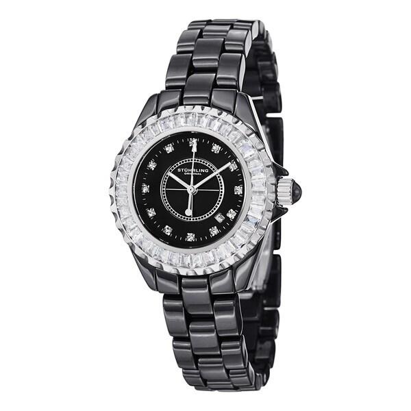 Stuhrling Original Women's Glamour II Japanese Quartz Crystal Ceramic Bracelet Watch