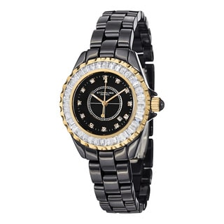 Stuhrling Original Women's Glamour II Quartz Crystal Ceramic Stainless Steel Bracelet Watch