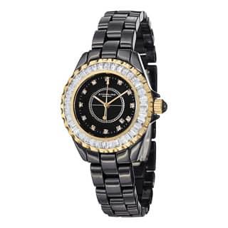 Stuhrling Original Women's Glamour II Quartz Crystal Ceramic Stainless Steel Bracelet Watch|https://ak1.ostkcdn.com/images/products/7617581/P15038808.jpg?impolicy=medium