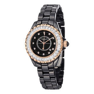 Stuhrling Original Women's Glamour II Quartz Crystal Black-Ceramic-Link Bracelet Watch