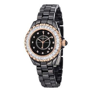Stuhrling Original Women's Glamour II Quartz Crystal Black-Ceramic-Link Bracelet Watch