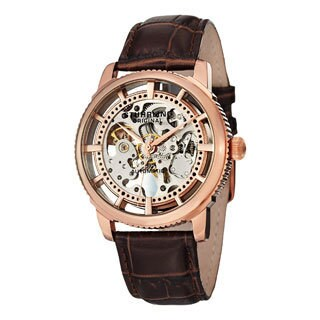 Stuhrling Original Men's Winchester Skeleton Automatic Leather Strap Watch