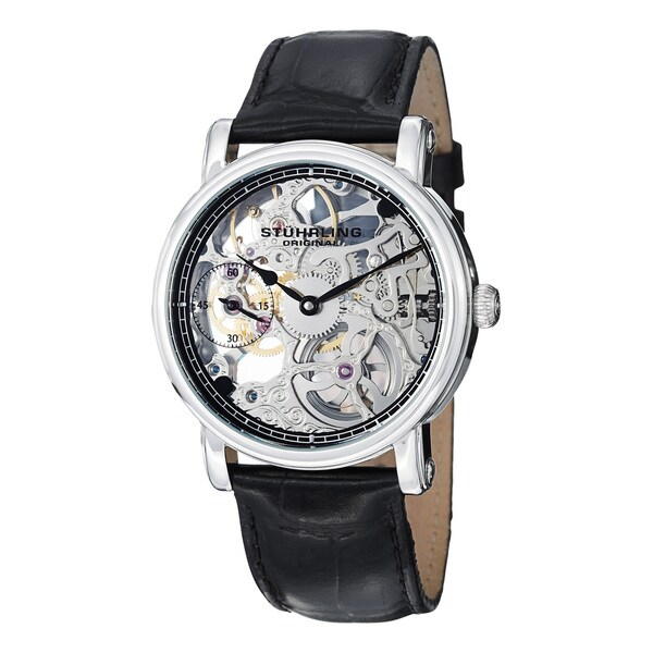 Stuhrling Original Men's Avon Mechanical Skeleton Leather Strap Watch