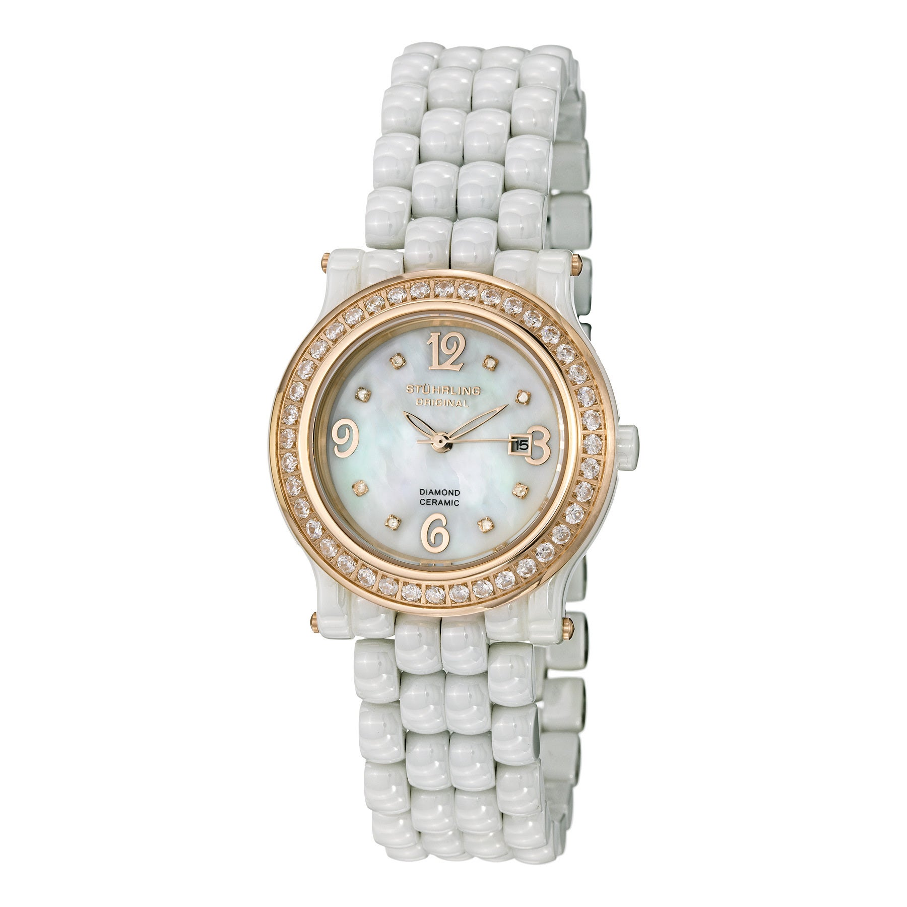 Stuhrling Original Women's Grace Quartz Crystal Ceramic B...