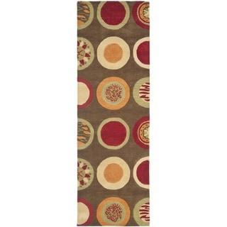 Safavieh Handmade Soho Brown/ Multi New Zealand Wool Rug (2'6 x 10')