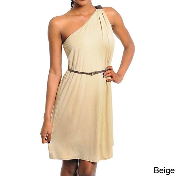 Stanzino Women's Slim-belted One Shoulder Dress