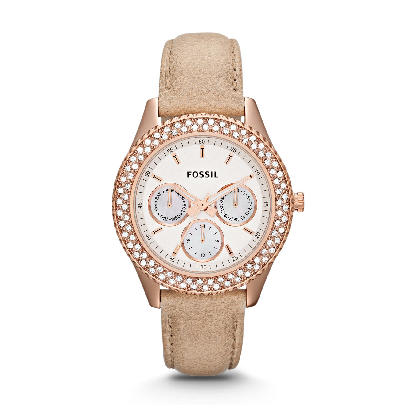 Fossil Women's ES3104 'Stella' Chronograph Leather Watch,...
