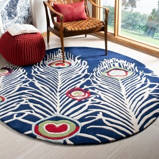 Safavieh Handmade Peacock Feathers Blue New Zealand Wool Rug